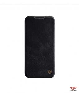 Изображение Кожаный чехол-книжка для Xiaomi Redmi Note 8 черный (Nillkin Qin)
