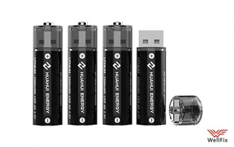 Изображение Аккумуляторные USB батарейки Huahui Energy AA 1500mWh (4шт)